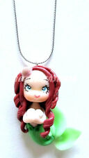KAWAII HANDMADE CURLY GREEN SHELL MERMAID CLAY GIRL NECKLACE BRAND NEW