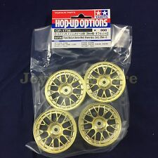 Tamiya 54736 1/10 RC Med Narrow Mesh Wheels 4pcs - Gold Plated/Offset +2 (4pcs)