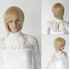 Lady Blonde Straight Hair Short Wigs Women Fashion Costume Cosplay Party Wig TS