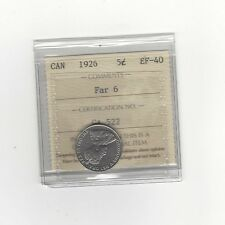**1926 Far 6**, ICCS Graded Canadian,  5 Cent, **EF-40**