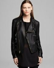 NWT DKNY Asymmetrical Zip Front Lamb Leather Moto Jacket Black L $895