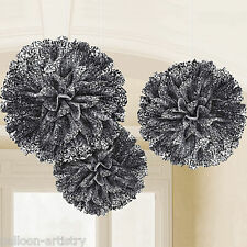 3 Elegant Black Scroll Swirls Party Hanging Fluffy Paper Ruffle Ball Decorations