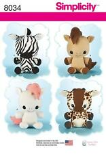 SIMPLICITY SEWING PATTERN HUGGABLE STUFFED ANIMALS HORSE ZEBRA GIRAFFE 8034