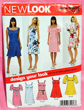 Uncut New Look Misses 6-16 Peasant Style Empire Waist Summer Dress Pattern 6800