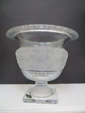 """SHANNON IRISH CRYSTAL CLEAR AND FROSTED LARGE PEDESTAL VASE URN perfect 9""""H"""