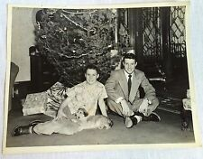 1950 Christmas Photo Two Brothers & Puppy Under the Tree Mid Century 8 x 10