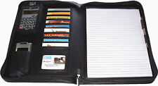 New, Zippered Padfolio, 10 Cards Pockets, Letter Size Pad, Pen Loop, Black