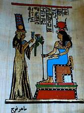 5 by 7 Egyptian Papyrus genuine hand painted ISIS and Nefertari