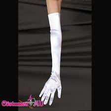 Long Opera White Satin Lycra Gloves Size 6-12