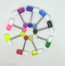 9X UV Capsule Pill Style Tongue Nipple Bar Ring Barbell Body Piercing