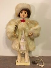 Rare Vintage Telco Motion-ette, Girl Christmas Caroler, Lighted Candle, Nice!