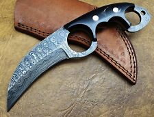 TITAN  23 CM  Full Tang Handmade Beautiful Damascus Karambit Knife Bull Horn