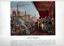 Stampa antica NAPOLEONE BONAPARTE 1798 FESTA di MAOMETTO al CAIRO 1890 Old print