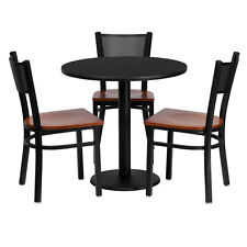 Restaurant Table Set 30'' Black Laminate Top with Grid Back Metal Chairs