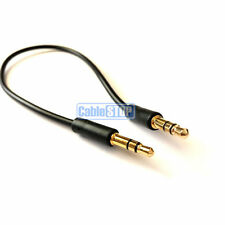 Slim 10cm SHORT 3.5mm Aux Jack Cable 24k Gold Connectors Car Audio Phone Lead