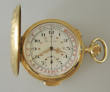 Solid 18K Gold MINUTE REPEATER and Chronograph Hunter Pocket Watch c1910