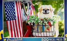 """2016 Jigsaw Puzzle 500pc All Amrican Pup Flag Dog 18.25""""X11"""" NEW #TY50"""