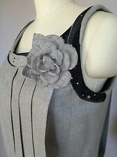 """CHANEL dress flapper gray wool beaded pleated flower """"Vintage"""" couture sz 38/40"""