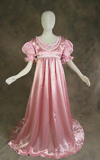 Jane Austen Style 2 Piece Rose Pink Regency Satin Ball Gown Cosplay Costume XL