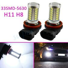 2x White H11 H8 33SMD Fog Driving Light LED Bulbs Projector Accessories Foglight