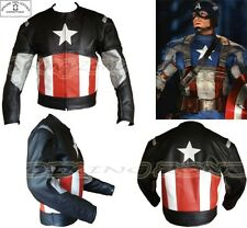 CAPTAIN AMERICA STYLE MENS BLACK CE ARMOUR MOTORBIKE / MOTORCYCLE LEATHER JACKET