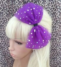 BIG PURPLE SPARKLE BOW TULLE TUTU NET ALICE HAIR HEAD BAND 80s PARTY FANCY DRESS