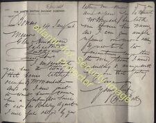 1876 BO'NESS STATION N.B.R. Letter from Robert Dott, Railway Agent