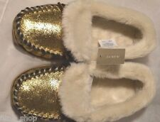 NWT J Crew Women's Crackled Metallic Suede Lodge Moccasins, Size 7 SOLD OUT