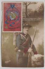 B0428: WW I France Arma de Genio Label on Postcard
