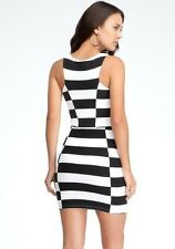 NWT bebe black and white contrast Stripe power Knit dress Small 119$