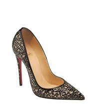 Christian Louboutin So Pretty 120 Black Patent Leather Glitter Pumps, Size 39.5