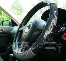 Black Grey Dragon Logo Mesh Look Fabric Car Steering Wheel Cover