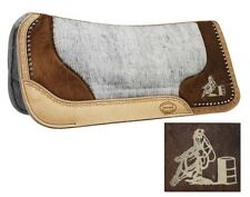 SHOWMAN Felt Bottom Saddle Pad w/ Genuine Cowhide & Laser Etched Barrel Racer!