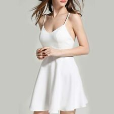 Lady Women Soild Color Sleeveless With Angel Wings A-Line Evening Dress White XL