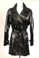 Women's Calvin Klein Double Breasted Belted Trench Coat Patent Leather Black