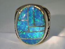 HUGE Fire Opal mens ring 9  Rare Sky Blue Silver 925 Thunderbirds Sterling 925