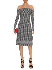 Preen by Thornton Bregazzi Black & White Olivia off-the-shoulder gingham dress