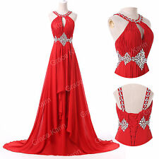 PLUS SIZE Beaded Bridal WEDDING Gown Evening Bridesmaids Prom Long Party Dresses