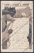 VERONA CITTÀ 188 FIERA di CAVALLI 1903 Illustr. BEVILACQUA Cartolina viagg. 1905
