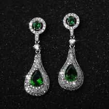 18K WHITE GOLD PLATED GENUINE EMERALD GREEN SWAROVSKI CRYSTAL DANGLE  EARRINGS