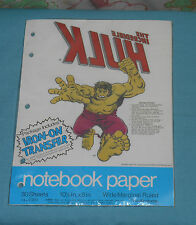 vintage THE INCREDIBLE HULK NOTEBOOK looseleaf PAPER with IRON-ON TRANSFER MIP