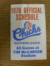 1978 Fixture Card: Baseball - Memphis Chicks (fold out style). Any faults with t