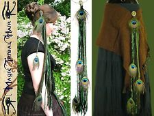 PEACOCK FEATHER Elf Fairy Yarn Fall LARP HAIR JEWELRY Tribal Belly Dance Belt