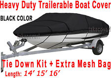 14' 15' 16' V-Hull Fish - Ski Boat Cover Trailerable black color FT