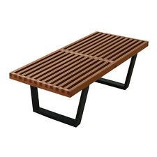 "George Nelson Inspired 48"" (4 Foot) Slat Platform Bench in Solid Dark Ash SW019"