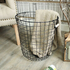 Black metal wire basket storage waste paper bin laundry hamper pine handle home