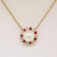 """14k Yellow Gold 16"""" 6.5mm Cultured Pearl w/ Diamond & Ruby Halo Pendant Necklace"""