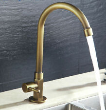 Classic Style Kitchen Faucet Antique Brass Finish Vessel Sink Tap For Cold Water
