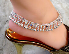 Pair of heavy bell silver tone/ polished Traditional anklets / Indian payal PABJ