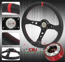 "320MM DRIFT TYPE R STEERING WHEEL + 1.5"" RED SLIM QUICK RELEASE &JDM HORN BUTTON"